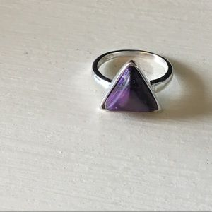 Jewelry - .925 Silver Triangle Ring Purple Turquoise